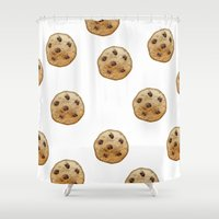 cookie Shower Curtains featuring COOKIE EMOJI by FaniS