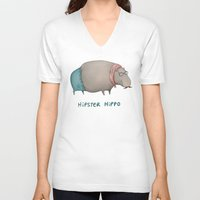 hippo V-neck T-shirts featuring Hipster Hippo by Sophie Corrigan