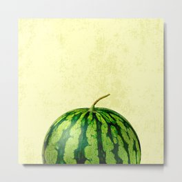 A Watermelon on yellow background Metal Print