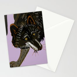 Totem black Buffalo wolf (nubilus) lavender Stationery Cards