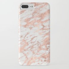 Marble - Pink Rose Gold Marble White Metallic iPhone 7 Plus Slim Case