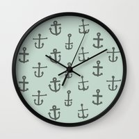 anchors Wall Clocks featuring Anchors by siobhaniaa
