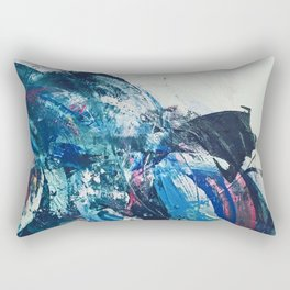 Flourish: a bold, colorful abstract piece in purple, gold, blues and white Rectangular Pillow