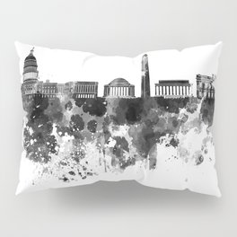 Washington DC skyline in black watercolor on white background  Pillow Sham
