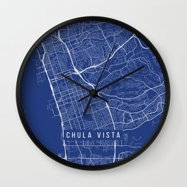 Chula Vista Map, USA - Blue Wall Clock