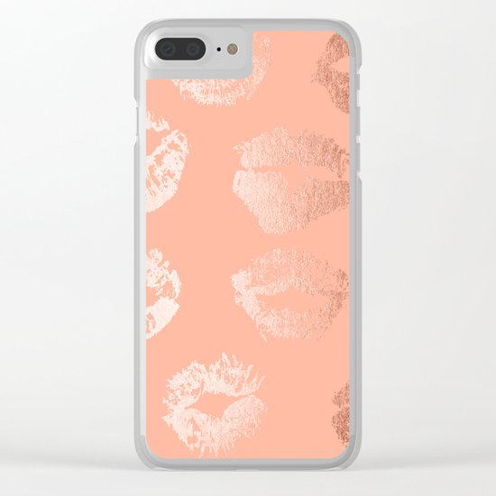 Sweet Life Lips Peach Coral Pink Shimmer Clear iPhone Case