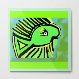 Beauty in the Green & Yellow Fish Metal Print