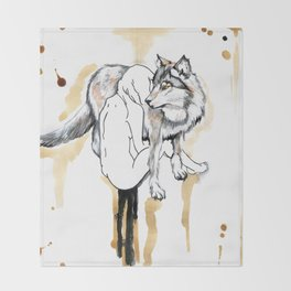 The Girl And The Wolf Throw Blanket