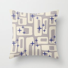 Retro Mid Century Modern Abstract Pattern 813 Gray and Blue Throw Pillow