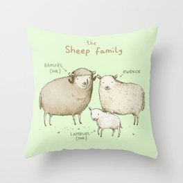 The Sheep Family Throw Pillow