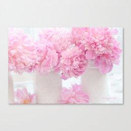Romantic Shabby Chic Pink Peonies  Canvas Print