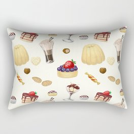 Sweet pattern with various desserts. Rectangular Pillow