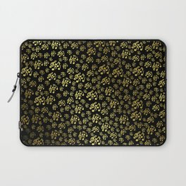 golden notes music symbol in black Laptop Sleeve