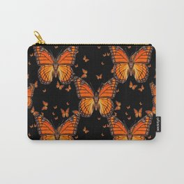 ORANGE MONARCH BUTTERFLIES BLACK MONTAGE Carry-All Pouch