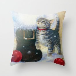 Kitten at Santa's Boot Throw Pillow