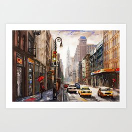 oil painting on canvas, street view of New York, woman under an red umbrella Art Print