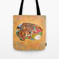 hippo Tote Bags featuring hippo by oxana zaika