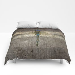 Dragonfly On Distressed Metallic Grey Background Comforters