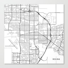 Regina Map, Canada - Black and White Canvas Print