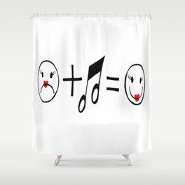 """""""Music Makes Me Happy"""" Shower Curtain"""