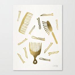 Good Hair Day – Gold Palette Canvas Print