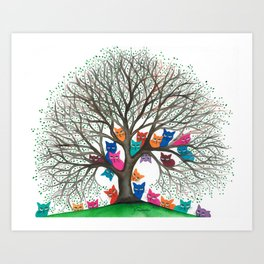 Connecticut Whimsical Cats in Tree Art Print