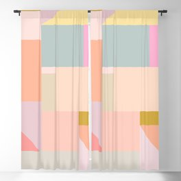 Pastel Geometric Graphic Design Blackout Curtain