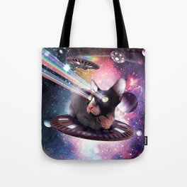 Universe Hairless Cat On UFO Lazer Tote Bag