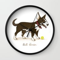 bull terrier Wall Clocks featuring Bull Terrier by Monica McClain