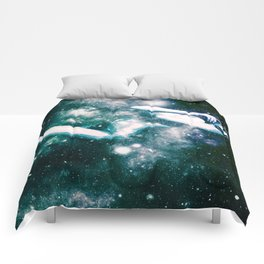 Teal Turquoise Blue Galaxy Woman : Nude Art Comforters