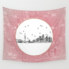 Beijing, China City Skyline Illustration Drawing Wall Tapestry