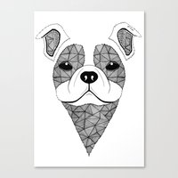 bulldog Canvas Prints featuring Bulldog  by Art & Be