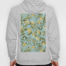 mediterranean summer lemon branches on turquoise Hoody
