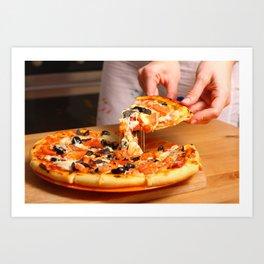 Woman hands sliced pizza. Art Print