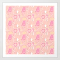 Graze Maze Peach Art Print