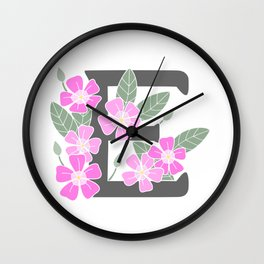 Letter E Floral Monogram Wall Clock