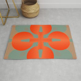 Bold Orange Pattern Abstract Rug
