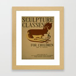 Vintage poster - Sculpture Classes for Children Framed Art Print