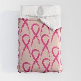 Grunge pink ribbon Comforters