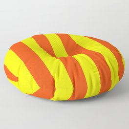 Bright Neon Orange and Yellow Vertical Cabana Tent Stripes Floor Pillow