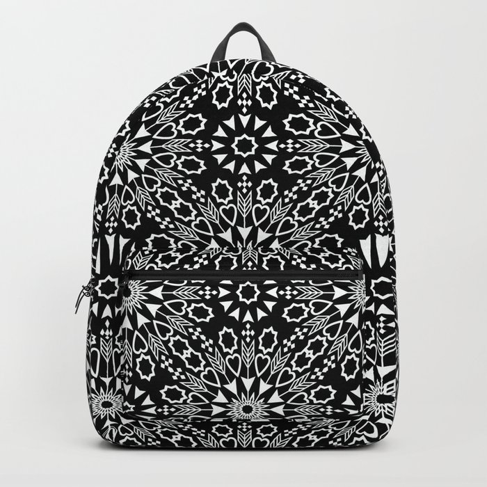 Oriental, ornament, black and white. Backpack