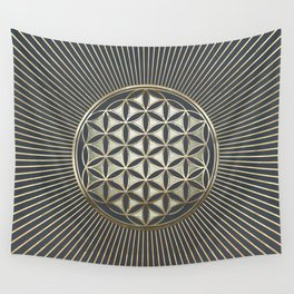 Flower of life metallic embossed Wall Tapestry