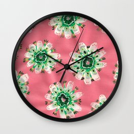 Emerald Lace Rose Wall Clock