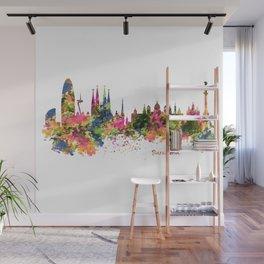 Barcelona Watercolor Skyline Wall Mural