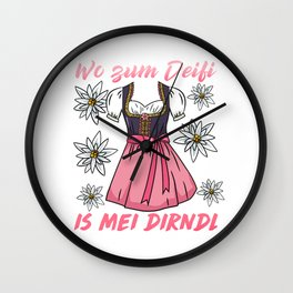 Wo zum Deifi is mei Dirndl - Oktoberfest T-Shirt Wall Clock