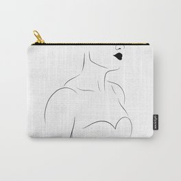 Feminine Female Figure Line Drawing (WHITE, 5 of 6) Bold Lips, Toned Upper Body Bone Structure Carry-All Pouch