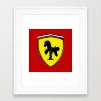 ferrari Framed Art Prints featuring Ferrari cute by le.duc