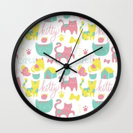 Abstract lime green pink cute cats pattern modern typography Wall Clock