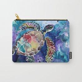 Sea Turtle underwater, beach deep blue barine blue turtle beach style design Carry-All Pouch