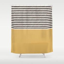 Texture - Black Stripes Gold Shower Curtain